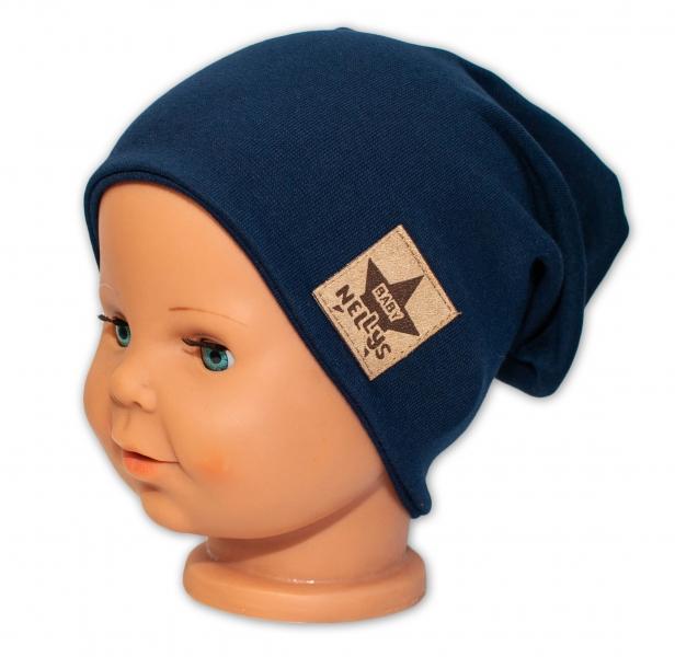 Baby Nellys Hand Made Jarná/jesenná bavlnená čiapka - dvojvrstvová, granátová, 44-48 cm
