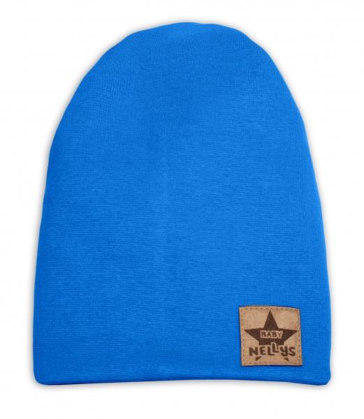 Baby Nellys Hand Made Jarná/jesenná bavlnená čiapka - dvojvrstvová, tm. modrá