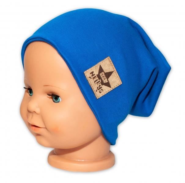 Baby Nellys Hand Made Jarná/jesenná bavlnená čiapka - dvojvrstvová, tm. modrá, 44-48 cm