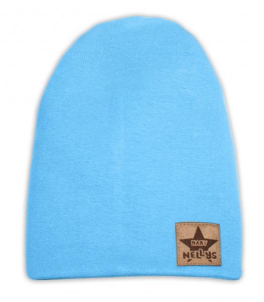 Baby Nellys Hand Made Jarná/jesenná bavlnená čiapka - dvojvrstvová, sv. modrá, 44-48 cm-3-7 let