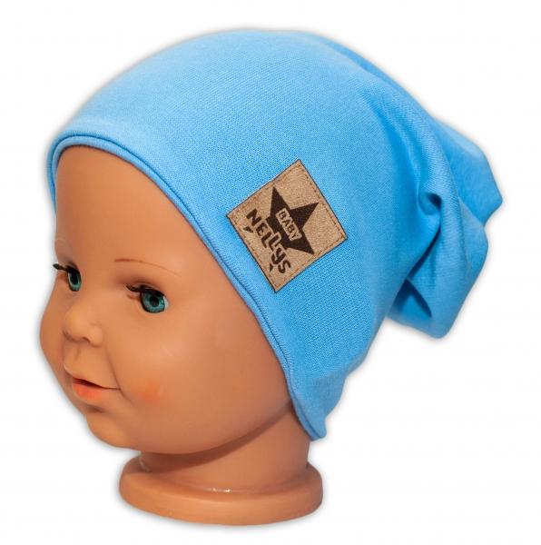 Baby Nellys Hand Made Jarná/jesenná bavlnená čiapka - dvojvrstvová, sv. modrá, 44-48 cm