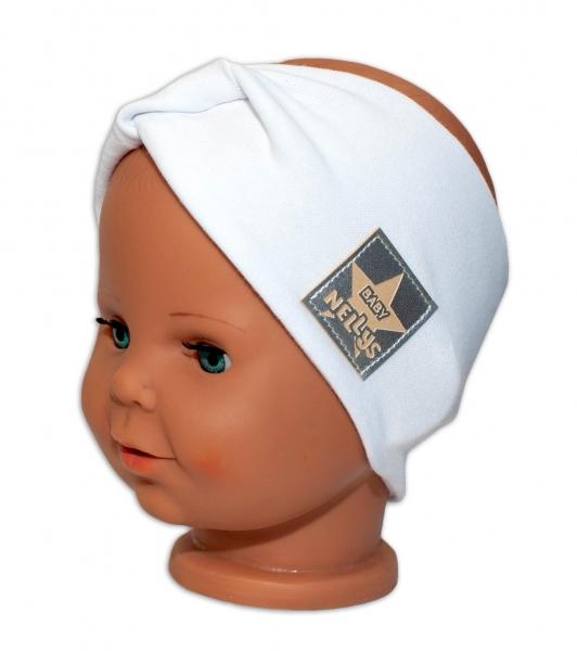 Baby Nellys Hand Made Jarná bavlnená čelenka - dvojvrstvová, biela, 44-48 cm-3-7 let