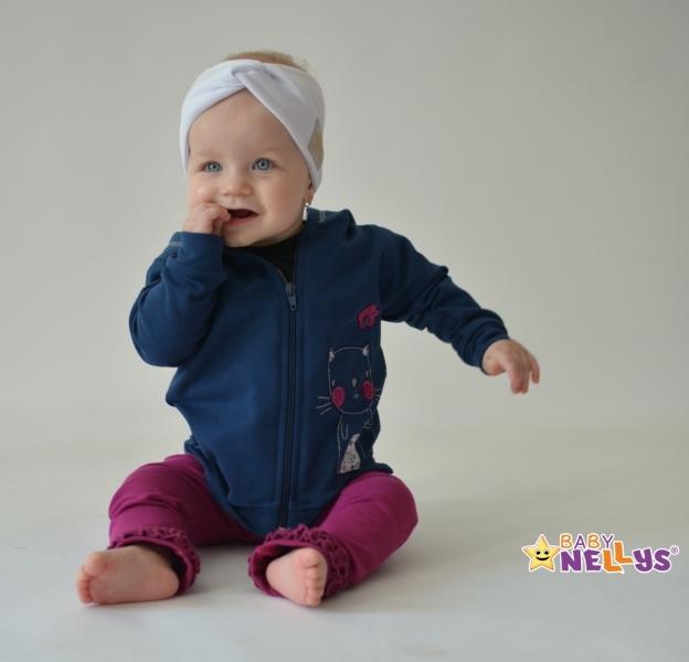 Baby Nellys Hand Made Jarná bavlnená čelenka - dvojvrstvová, biela, 3-7 rokov
