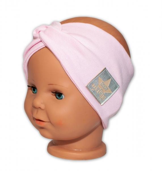 Baby Nellys Hand Made Jarná bavlnená čelenka - dvojvrstvová, sv. růžová, 44-48 cm-3-7 let