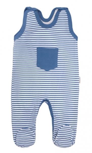 Mamatti Dojčenské bavlnené dupačky World - modré pásiki-50 (0-1m)