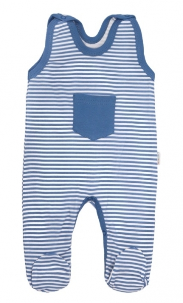 Mamatti Dojčenské bavlnené dupačky World - modré pásiki, veľ. 68-68 (4-6m)