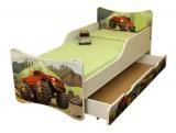 NELLYS Detská posteľ so zábranou a šuplík/y Auto, 200x80 cm
