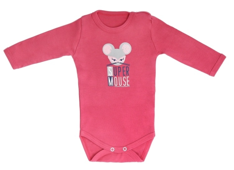 Mamatti Dojčenské body dlhý rukáv Mouse - čiervené, veľ. 74