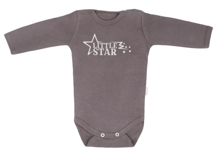 Mamatti Dojčenské body dlhý rukáv Star - sivé, veľ. 74
