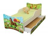 NELLYS Detská posteľ so zábranou a šuplík/y Farma, 160x90 cm
