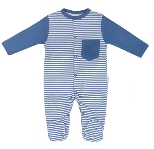 Mamatti Dojčenský bavlnený overal  World - modré pásiky, veľ. 62-62 (2-3m)