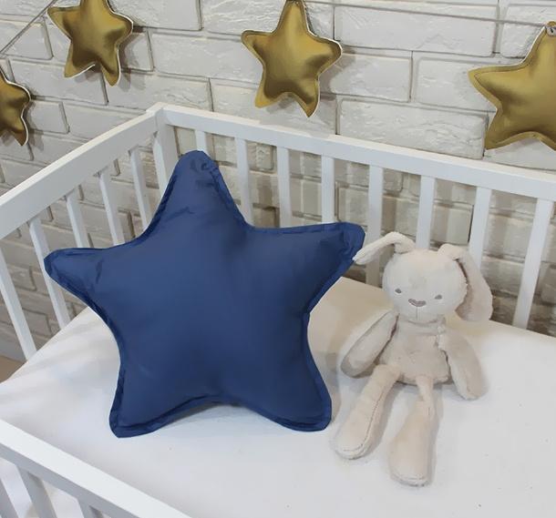 Baby Nellys Dekoračné obojstranný vankúšik - Hviezdička, 45 cm - tm. modrá