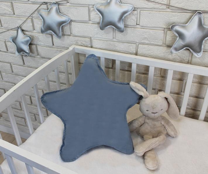 Baby Nellys Dekoračné obojstranný vankúšik - Hviezdička, 45 cm - šedá