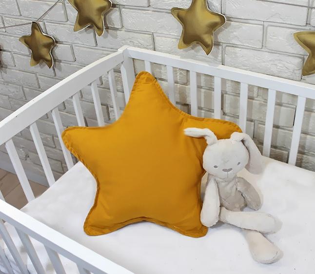 Baby Nellys Dekoračné obojstranný vankúšik - Hviezdička, 45 cm - horčicová