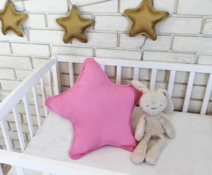 Baby Nellys Dekoračné obojstranný vankúšik - Hviezdička, 45 cm - rúžový