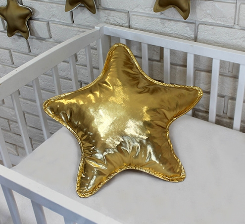 Baby Nellys Dekoračné obojstranný vankúšik - Hviezdička, 45 cm - zlatý