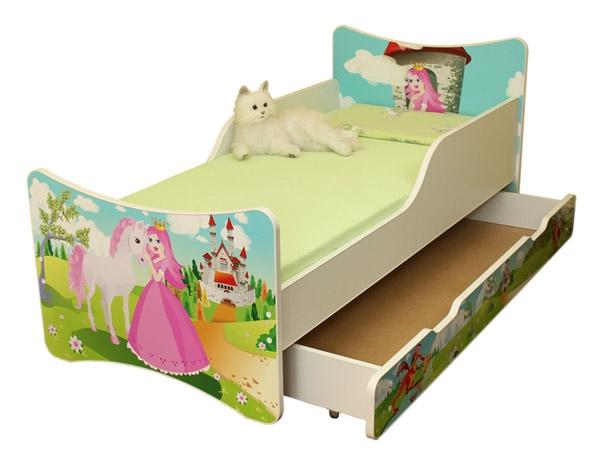 NELLYS Detská posteľ so zábranou a šuplík/y Princezná