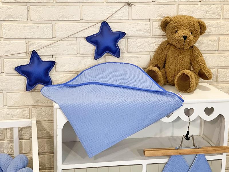 BABY NELLYS Osuška s kapucňou 80 x 80 cm - vaflová, modrá