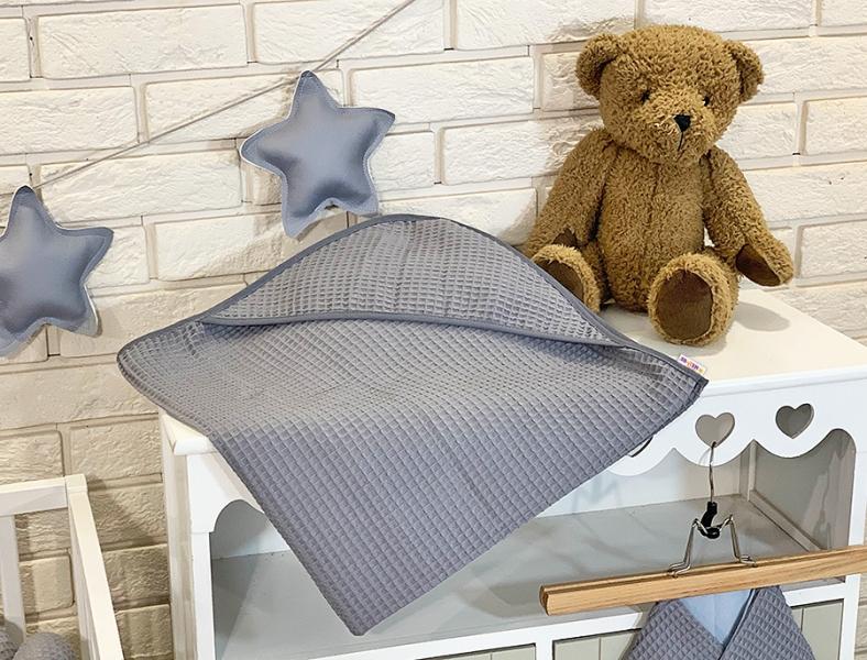 BABY NELLYS Osuška s kapucňou 80 x 80 cm - vaflová, šedá