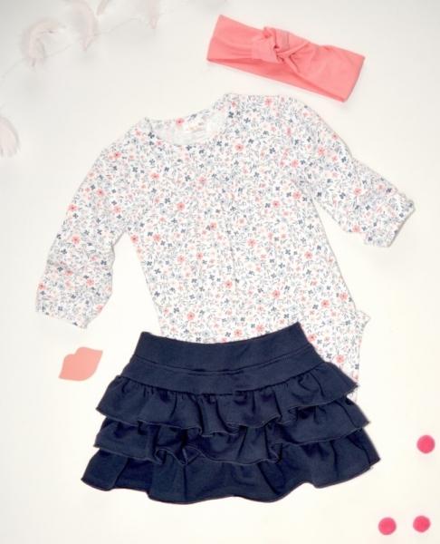 K-Baby 3 dielna sada - body dl. rukáv, suknička, čelenka - drobné kvietky, veľ. 86