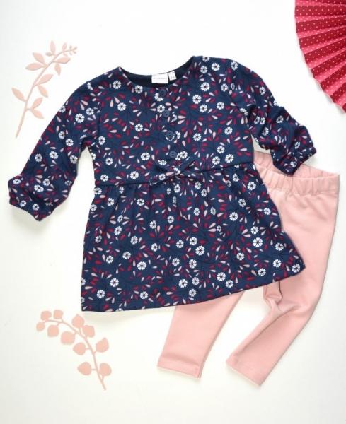 K-Baby 2 dielna sada - šaty + legíny, tm.modrá / staroružová, veľ. 86