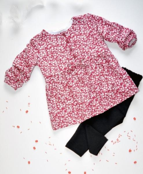 K-Baby 2 dielna sada - šaty + legíny, vínovo/ čierna, veľ. 92