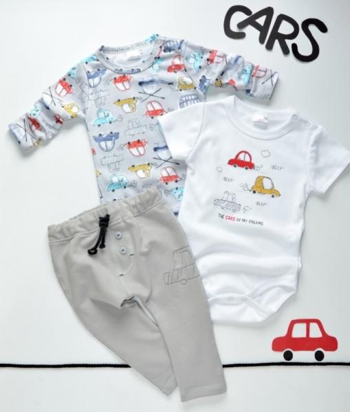 K-Baby 3 dielna sada - body kr. rukáv, body dl. rukáv, tepláčiky - autíčko, veľ. 86