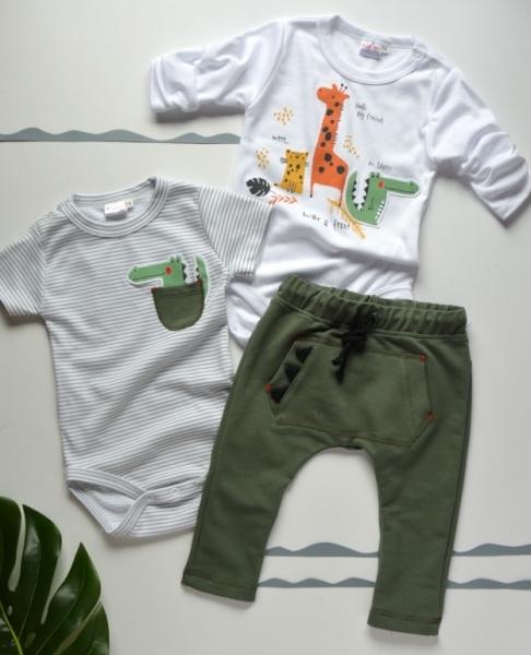 K-Baby 3 dielna sada - body kr. rukáv, body dl. rukáv, tepláčiky - safari Veľ. 62