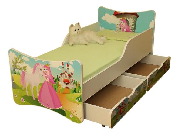 NELLYS Detská posteľ so zábranou a šuplík/y Princezná, 180x90 cm