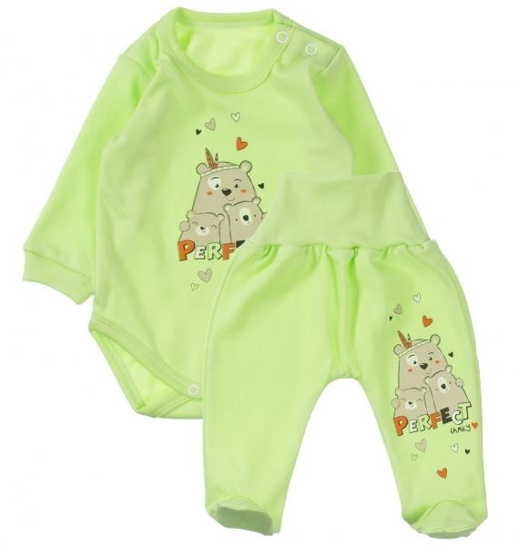 MBaby 2-dielna dojčenská sada Perfect family - zelená, veľ. 68-68 (4-6m)