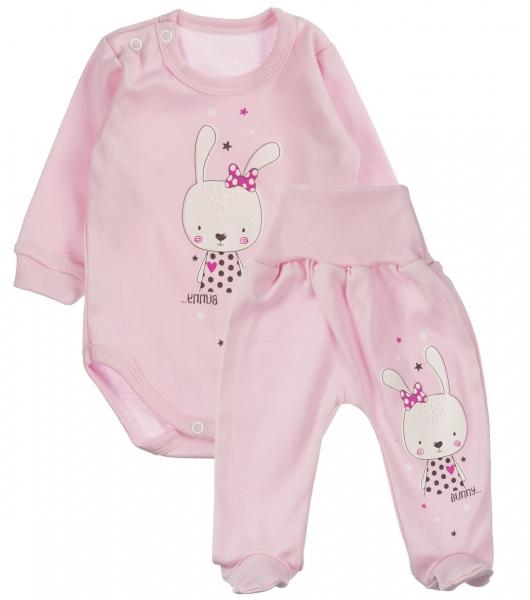 MBaby 2-dielna dojčenská sada Bunny - ružová, veľ. 62