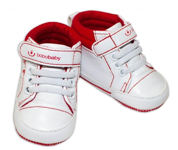 Jarné topánočky /tenisky BOBO BABY - biele/ červené, veľ. 6/12 m
