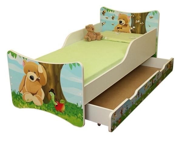 NELLYS Detská posteľ so zábranou a šuplík/y Medvedík