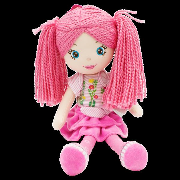 Handrová bábika Markétka s ružovými vláskami, Tulilo, 35 cm - ružová