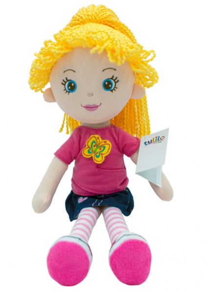 Handrová bábika Markétka so žltými vlásky, Tulilo, 35 cm - jeans