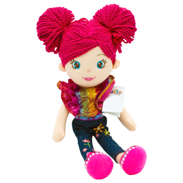 Handrová bábika Markétka s ružovými vláskami, Tulilo,, 35 cm - jeans