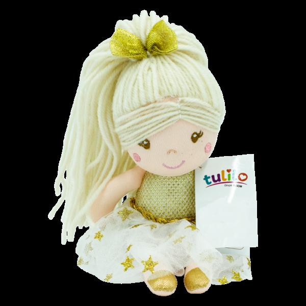 Handrová bábika Julie s dlhými vláskami, 20 cm - zlatá, Tulilo