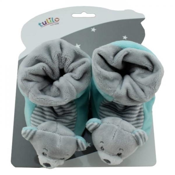 Dojčenské topánočky s hrkálkou Tulilo - Medvedík mätový, veľ. 10 cm