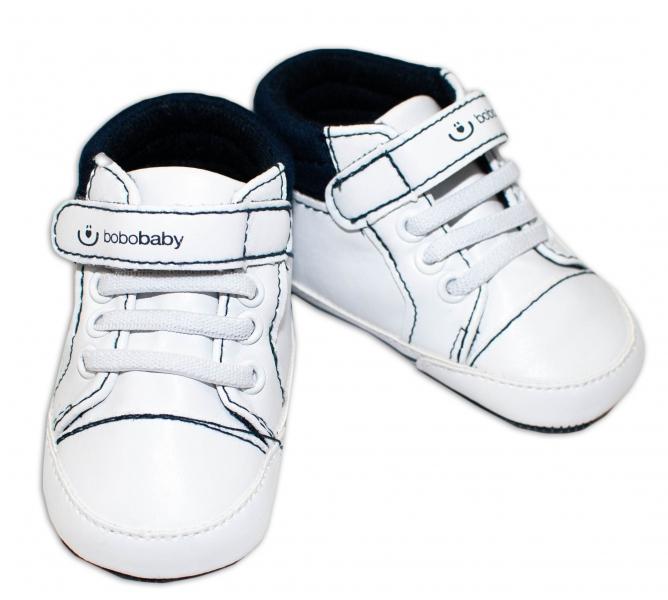 Jarné topánočky /tenisky BOBO BABY - biele / modré, veľ. 3/6 m