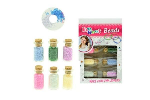 Sada korálky vo fľaštičkách plast mix farieb v krabičke 13x20x2,5cm