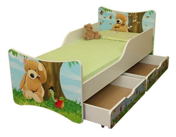 NELLYS Detská posteľ so zábranou a šuplík/y Medvedík, 200x90 cm
