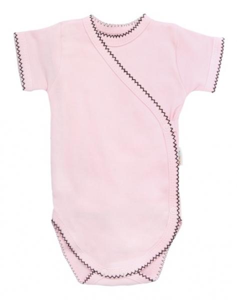 Mamatti Dojčenské body krátky rukáv Bow - zapínanie bokom, svetlo ružové