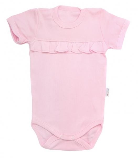 Mamatti Dojčenské body krátky rukáv Bow - svetlo ružové-68 (4-6m)