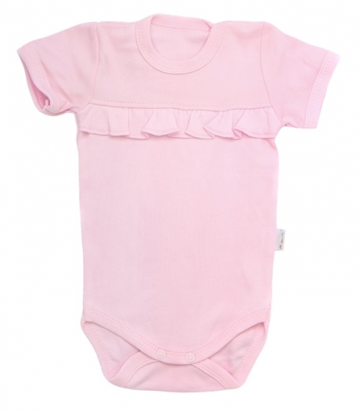 Mamatti Dojčenské body krátky rukáv Bow - svetlo ružové, veľ. 74-74 (6-9m)