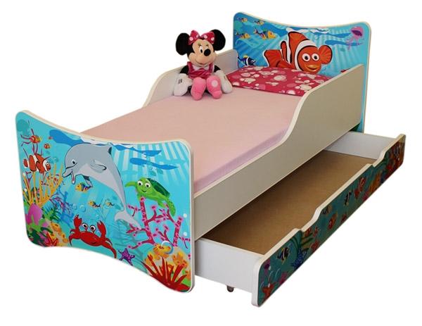 NELLYS Detská posteľ so zábranou a šuplík/y Oceán