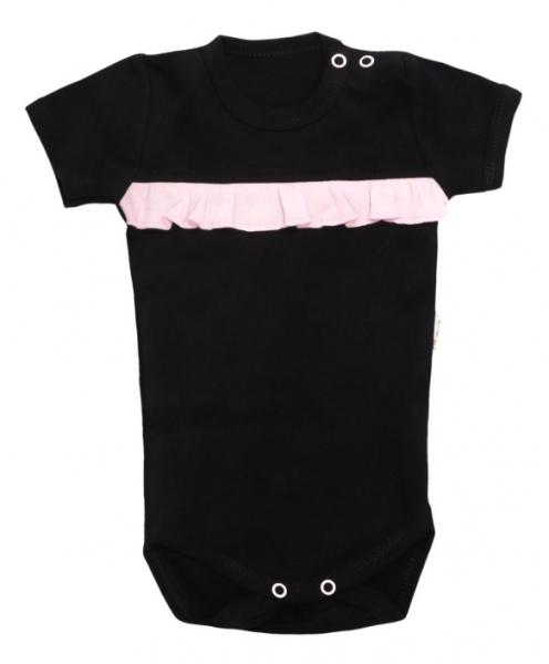 Dojčenské body krátky rukáv Bow - čierne, veľ. 86