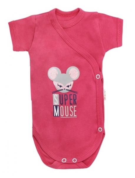 Mamatti Dojčenské body krátky rukáv Mouse - zapínanie bokom, červené