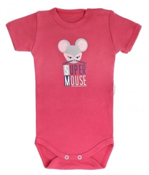 Dojčenské body krátky rukáv Mouse - červené, veľ. 74