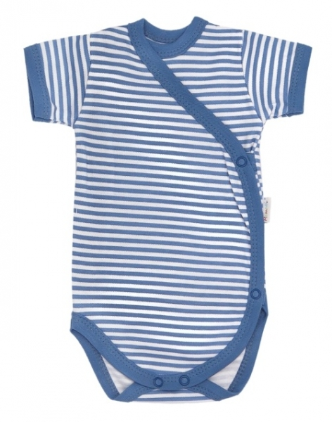 Mamatti Dojčenské body krátky rukáv World - zapínanie, modré pásiky
