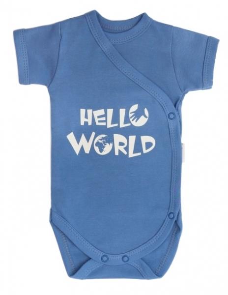 Mamatti Dojčenské body krátky rukáv World - zapínanie, modré